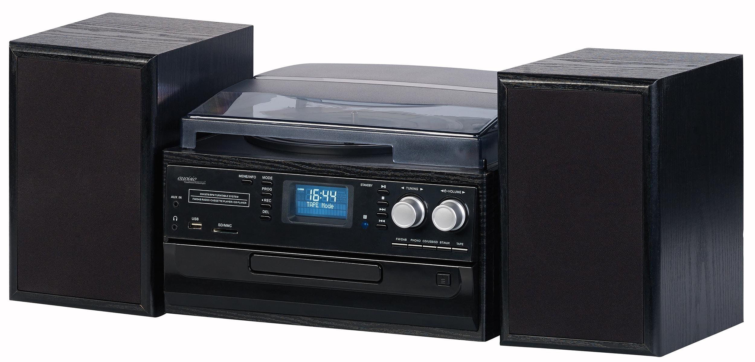 auvisio 5in1 plattenspieler mit dab fm radio bluetooth. Black Bedroom Furniture Sets. Home Design Ideas