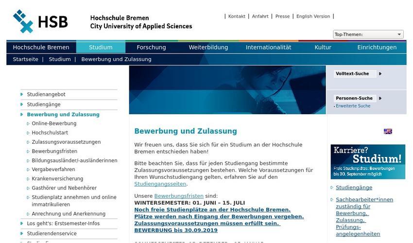 Hochschule Bremen Erfolgreich Bewerben