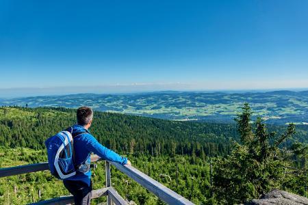 Wandern auf dem Goldsteig: Der längste Qualitätswanderweg Deutschlands führt auf 660 Kilometern durch den Oberpfälzer Wald und Bayerischen Wald. Das Bild zeigt einen Wanderer beim Blick vom Dreisessel im Dreiländereck auf das