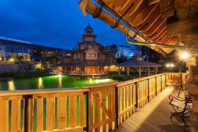 Ausblick vom Ferienhaus auf das russisch-karelische Saunadorf
