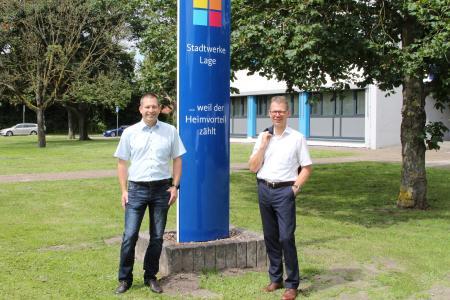 Michael Wippermann (r.) und Jörg Mikus setzen weiter auf den Heimvorteil der Stadtwerke Lage