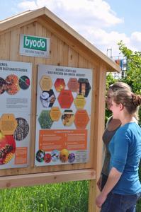 Stundentinnen lesen die Infotafel Byodo Naturkost