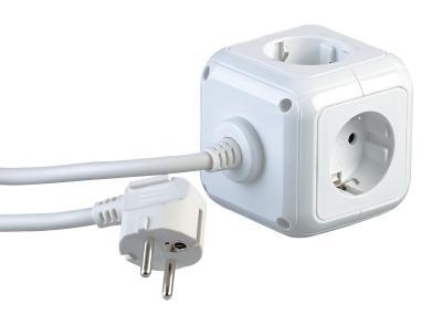 revolt 4-fach-Steckdosen-Würfel mit 2 USB-Ladeports und Halterung