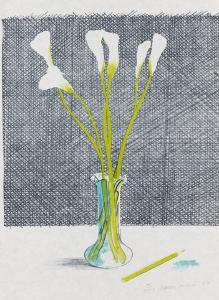David Hockney - Lillies (Still Life), 1971 - Color lithograph, 64.5 x 51.8 cm / 25.3 x 20.3 in - Calling price: € 1 - A comparable work realized € 10,838 at - Christie's in London in 2012