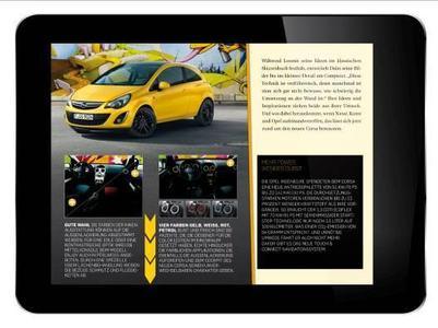 Die iPad-Version des Opel Magazins, das Opel iMag, ist ab 9. März verfügbar. Sehr unterhaltsam ist der Graffiti-App, der den Artikel zum neuen Corsa im Opel iMag bereichert. Hier können die Nutzer dem Opel Corsa nach eigenem Belieben ein neues Design verpassen und auf Facebook veröffentlichen oder per email versenden