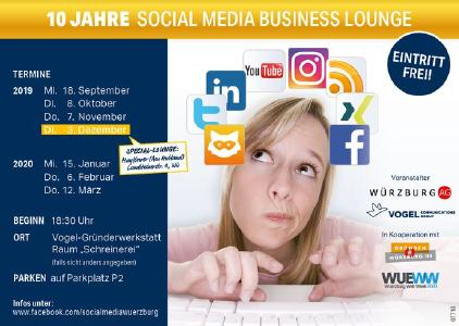 "Jubiläumsstaffel der ""Social Media Business Lounge"" beginnt am 18.09.2019 (Vogel Communications Group)"