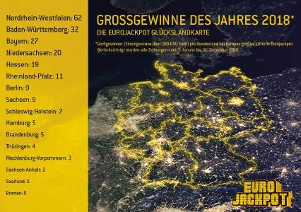Die Verteilung der Eurojackpot Großgewinne (ab 100.000 Euro) in Deutschland