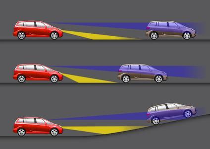 AFL+ denkt mit: Erkennt die im Innenrückspiegel untergebrachte Kamera die Lichter eines vorausfahrenden Fahrzeugs, reguliert das System automatisch die Leuchtweite der Scheinwerfer, um den Vordermann nicht zu blenden