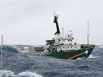 Arctic Sunrise im Südpolarmeer 2005: Das sturmerprobte Schiff gehört seit 1996 zur Greenpeace-Flotte. Der 50 Meter lange Eisbrecher war Teil zahlreicher friedlicher Greenpeace-Protestaktionen und Forschungsexpeditionen.© J. Sutton-Hibbert