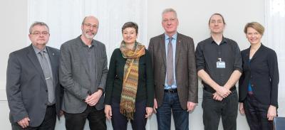 Personen v.l.n.r.: Josef Hug, Klaus Stapf, Sylvia Bühler, Prof. Dr. Hans-Jürgen Hennes, Marek Hintsches, Grit Genster