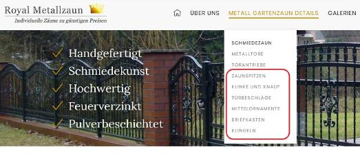 Neue Auswahl-Seiten bei Royal-Metallzaun.de