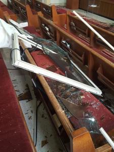 Verwüstung in der Beiruter Boucherieh Kirchengemeinde der Adventisten © Foto: Fady Fakhoury/Beirut
