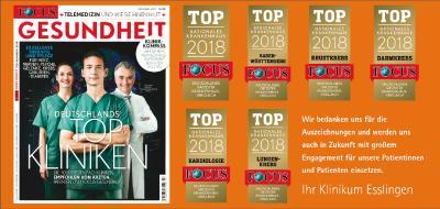 Klinikum Esslingen auch 2017 wieder unter den TOP-TEN Focus Kliniken