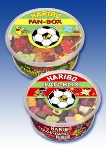 """HARIBO """"FAN-BOX"""" zwei Klassiker im sportlichdekorativen Fußball-Design!"""