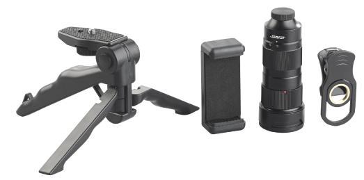 Somikon Vorsatz-Tele-Zoom-Objektiv CVL-250.zoom 4x - 12x für Smartphones, mit Stativ