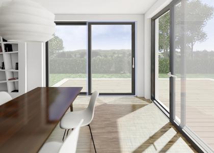 Winkhaus bietet jetzt auch für großformatige Fensterschiebetüren die raffinierte Technik zur Parallelabstellung für eine gesunde und effizienten Raumlüftung. Foto: Winkhaus