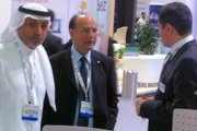 protel regional director UAE, Magued Malek, (on the right), discussing protel hotel software solutions at the ATM 2011