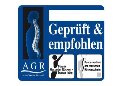Besonders rückenfreundliche Produkte erkennen Sie an dem Gütesiegel der Aktion Gesunder Rücken (AGR) e. V.