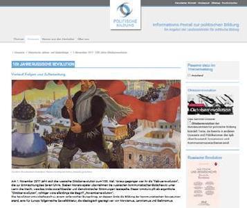 """Online-Dossier """"100 Jahre Russische Revolution - 7. November 1917"""" auf dem Informations-Portal zur politischen Bildung"""""""
