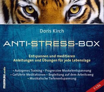"""Je nach Stimmung und Situation bietet bietet die """"Anti-Stress-Box"""" (5 CDs) verschiedene Möglichkeiten, um tägliche Entspannung und Regeneration zu unterstützen."""