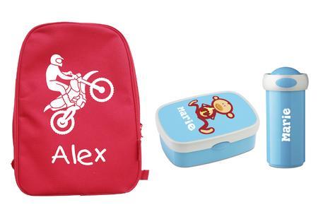Gut ausgerüstet im neuen Schuljahr: Rucksäcke, Brotdosen, Trinkflaschen und Haarbänder mit persönlicher Bedruckung