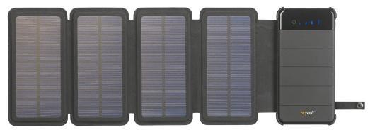 revolt Solar-Powerbank PB-85.s, faltbares Solarpanel, LED-Lampe, 8.000 mAh, 2,1 A, 5 Watt / Bild: PEARL.GmbH / www.pearl.de