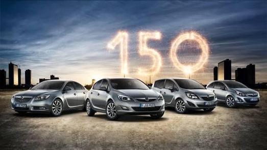 Modellfeuerwerk zum Jubiläum: Mit hochwertig ausgestatteten Sondereditionen von Insignia, Astra, Meriva und Corsa feiert Opel sein 150-jähriges Bestehen. Auf den Kunden wartet dabei ein Preisvorteil von bis zu 2.100 Euro