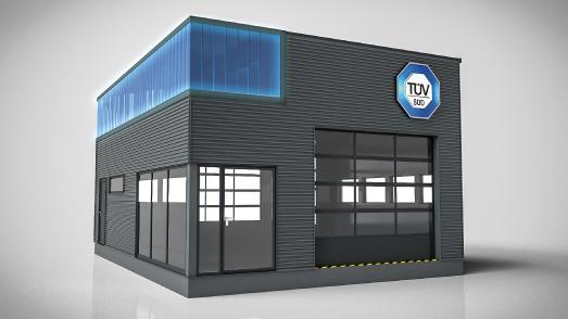 TÜV SÜD Blue Box: Die modulare Prüfstelle steht der klassischen Prüfstelle in technischer Ausstattung und Funktionalität in nichts nach