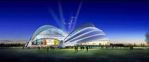 Eindrucksvoll beleuchtet - das Shenyang Stadion in China, einer der Schauplätze für die Olympiade im Sommer 2008
