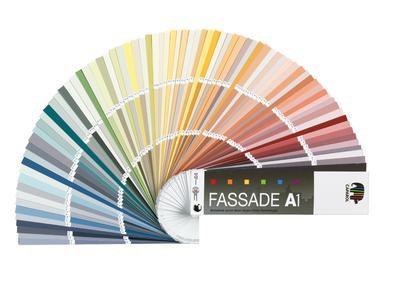 """Mit dem neuen Fächer""""Fassade A1"""" liegt man immer richtig.Maler,Stuckateure,Architekten und Farbgestalter können Kunden damit jetzt sicher 500 Farbtöne zur Auswahl anbieten,die alle die derzeit höchstmögliche Farbtonbeständigkeit nach dem Fb-Code aufweisen"""