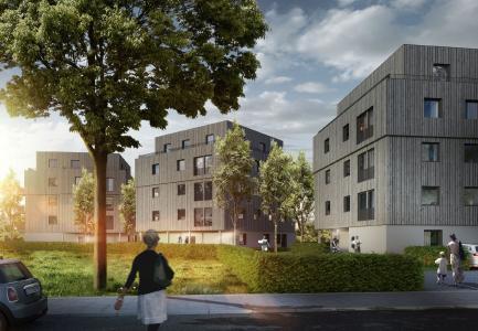 Adlershof in Berlin - ein erfolgreiches Beispiel für Urbanen Holzbau in Holz-Hybridbauweise. Foto: Björn Rolle.