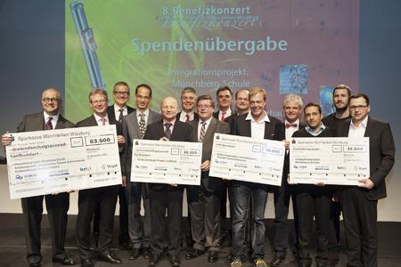 Die Vertreter der Förderprojekte und die Veranstalter freuen sich über den Spendenerlös des achten Benefizkonzertes der Druck- und Medienunternehmen Würzburg / Foto: Katrin Heyer