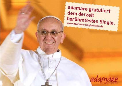 Glückwünsche für den derzeit berühmtesten prominenten Single: Singlereisen-Experte Steffen Butzko gratuliert Papst Franziskus