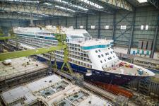 Spirit of Discovery leaves building dock I at MEYER WERFT
