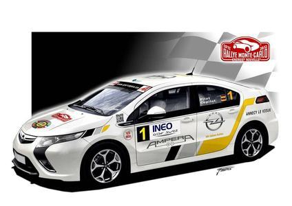 """Erstmals nimmt der Opel Ampera, das """"Auto des Jahres 2012"""", an der internationalen Rallye Monte Carlo teil. Sechs Elektroautos von Opel debütieren im Wettbewerb für Fahrzeuge mit alternativen Antrieben, der vom Automobilclub Monaco ausgerichtet wird."""
