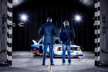 Fotoshooting, Eddie Cheever, Marc Surer, BMW 320 Gr. 5