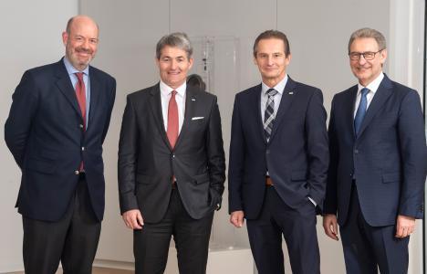 Dr. Moritz Finkelnburg, Prof. Edgar Bohn, Raimund Herrmann und BGV-Verwaltungsratsvorsitzender Jürgen Bäuerle (v.l.n.r.)