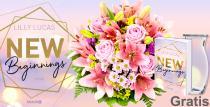 """Nur für kurze Zeit! Blumenstrauß """"Lilienzauber"""" mit Vase und Buch """"New Beginnings"""" für nur 29,99€"""
