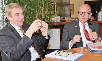 Präsident Harald Herrmann und Hauptgeschäftsführer Dr. Joachim Eisert beim Pressegespräch im Vorfeld der Wintervollversammlung / Foto: Handwerkskammer Reutlingen