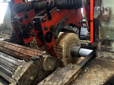Aus großen Baumstämmen werden die Spanholzbrettchen herausgeschält, die im Verlauf des Verfahren zu Obst.- oder Gemüsesteigen zusammenge-fügt werden. (Fotos: GROW)