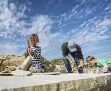 Fossiliensammen im Steinbruch bei Mühlheim