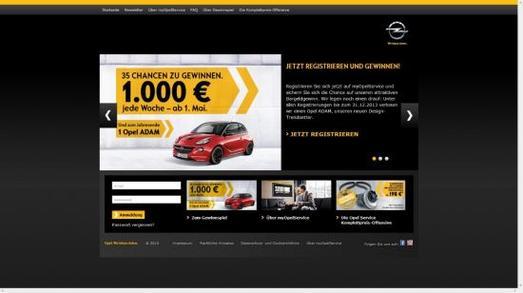 """Bequem, übersichtlich und immer aktuell: Mit dem neuen Portal """"myOpelService.de"""" können Kunden auch via Internet auf das umfangreiche Opel-Serviceangebot zugreifen. Unter allen Nutzern verlost Opel wöchentlich 1.000 Euro. Als Hauptgewinn lockt zum Jahresende der neue Stadtflitzer ADAM. Wie dieser im Detail aussieht, bestimmen die Gewinnspiel-Teilnehmer selbst"""