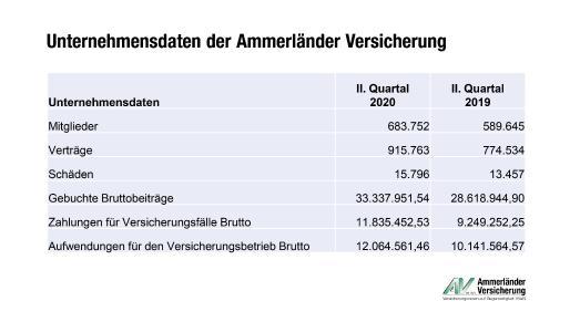 Grafik Unternehmensdaten Ammerländer Versicherung, erstes Halbjahr 2020. Credit: Ammerländer Versicherung.