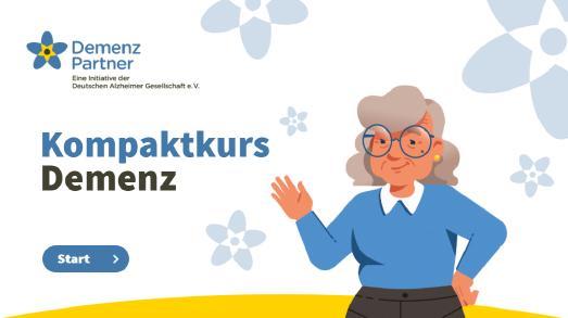 Startseite zum Demenz Partner-Webtraining Christel lädt ein zum Mitmachen