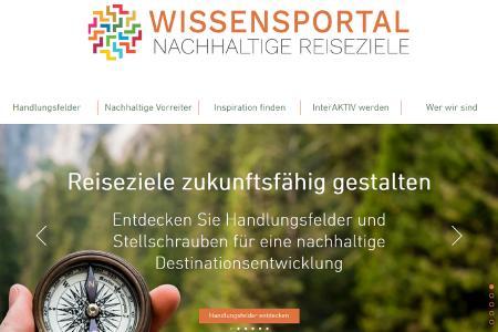 Auszug von der Startseite des Wissensportals Nachhaltige Reiseziele