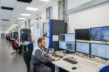 Engineers and technicians monitor the dynamometers around the clock via modern LED screens