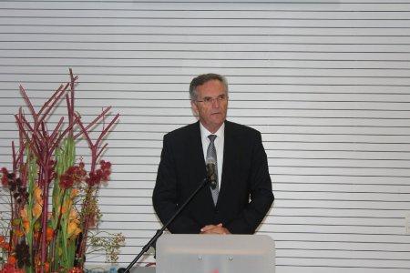 Dr. Dieter Wagner beim Festakt gestern an der HWG LU zu Ihrer Verwendung. (Bild: HWG LU)