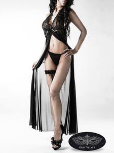 Erotik-Set Mantel und Strumpfband schwarz