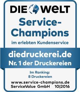 """Zum vierten Mal in Folge wurde diedruckerei.de in Deutschlands größtem Service-Ranking als """"Service-Champion"""" ausgezeichnet. Der Branchenprimus konnte 2016 nicht nur seinen Titel verteidigen, sondern die Kundenzufriedenheit auch weiter ausbauen / Foto: diedruckerei.de"""