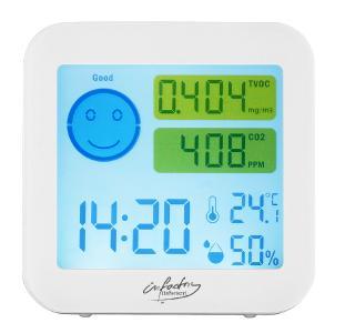 infactory Messgerät für TVOC & CO2, mit Uhrzeit, Temperatur und Luftfeuchtigkeit